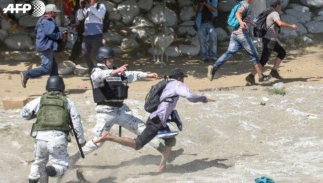 MEXICO-GUATEMALA  enfrentamiento de migrantes y  Guardia Nacional de México